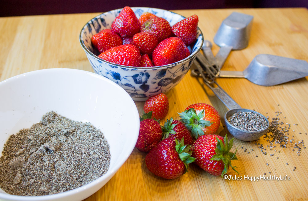 Strawberries with chia seeds- Jules HappyHealthyLife