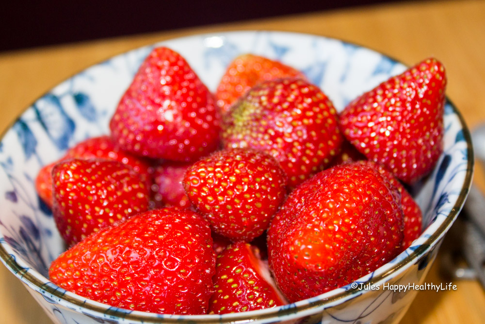 Strawberries for strawberry chia seed jam - Jules HappyHealthyLife