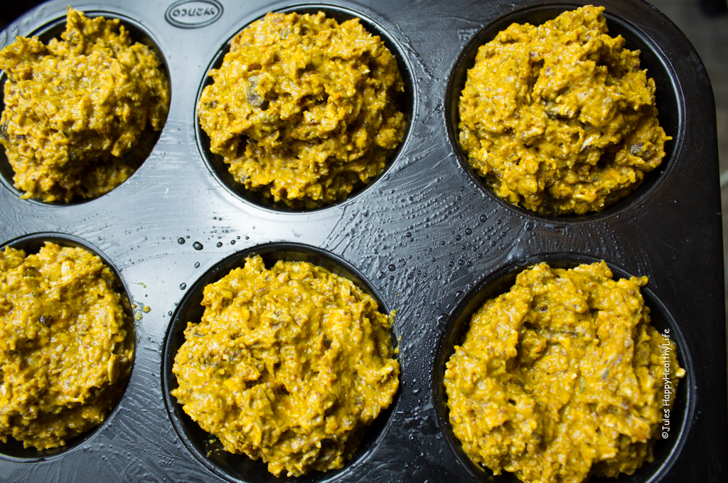 Chocolate Pumpkin Pie Muffins in Tin - Jules HappyHealthyLife Food Blog