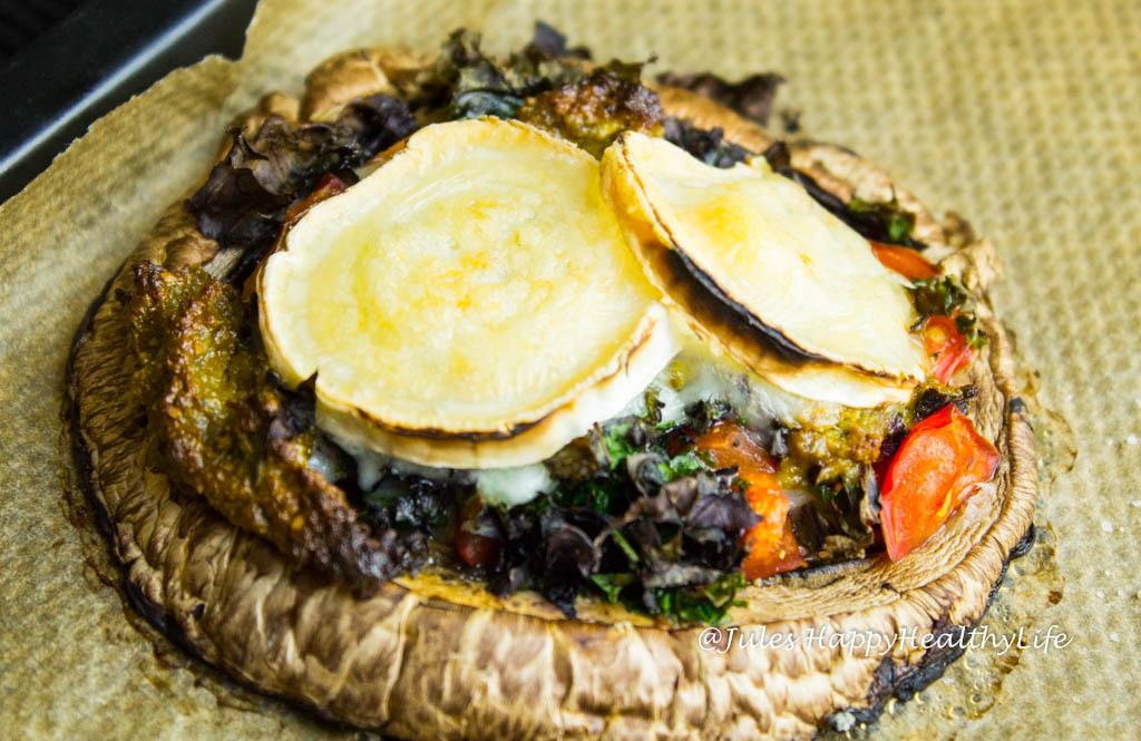 Rezept für low carb Portobello Pilz Pizza