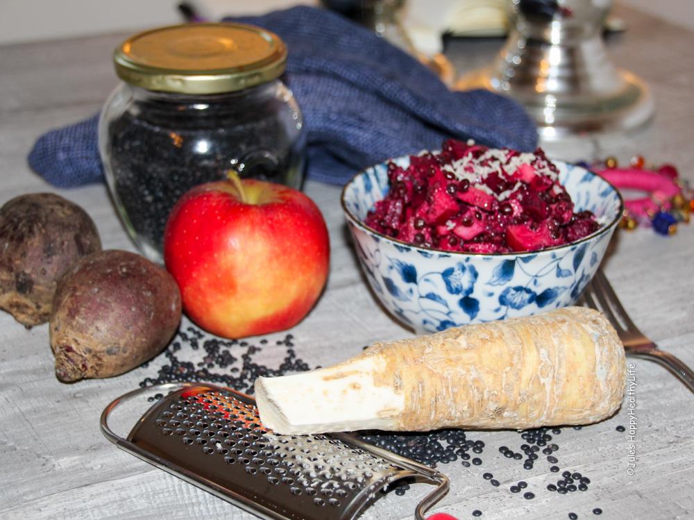 Sättigender, veganer Rote Bete Salat mit frischem Meerrettich