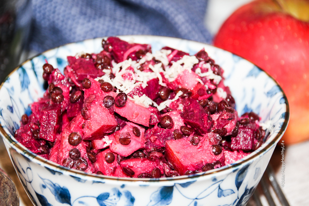 Beetroot Salad with Horseradish in a dish - Jules HappyHealthyLife Food Blog