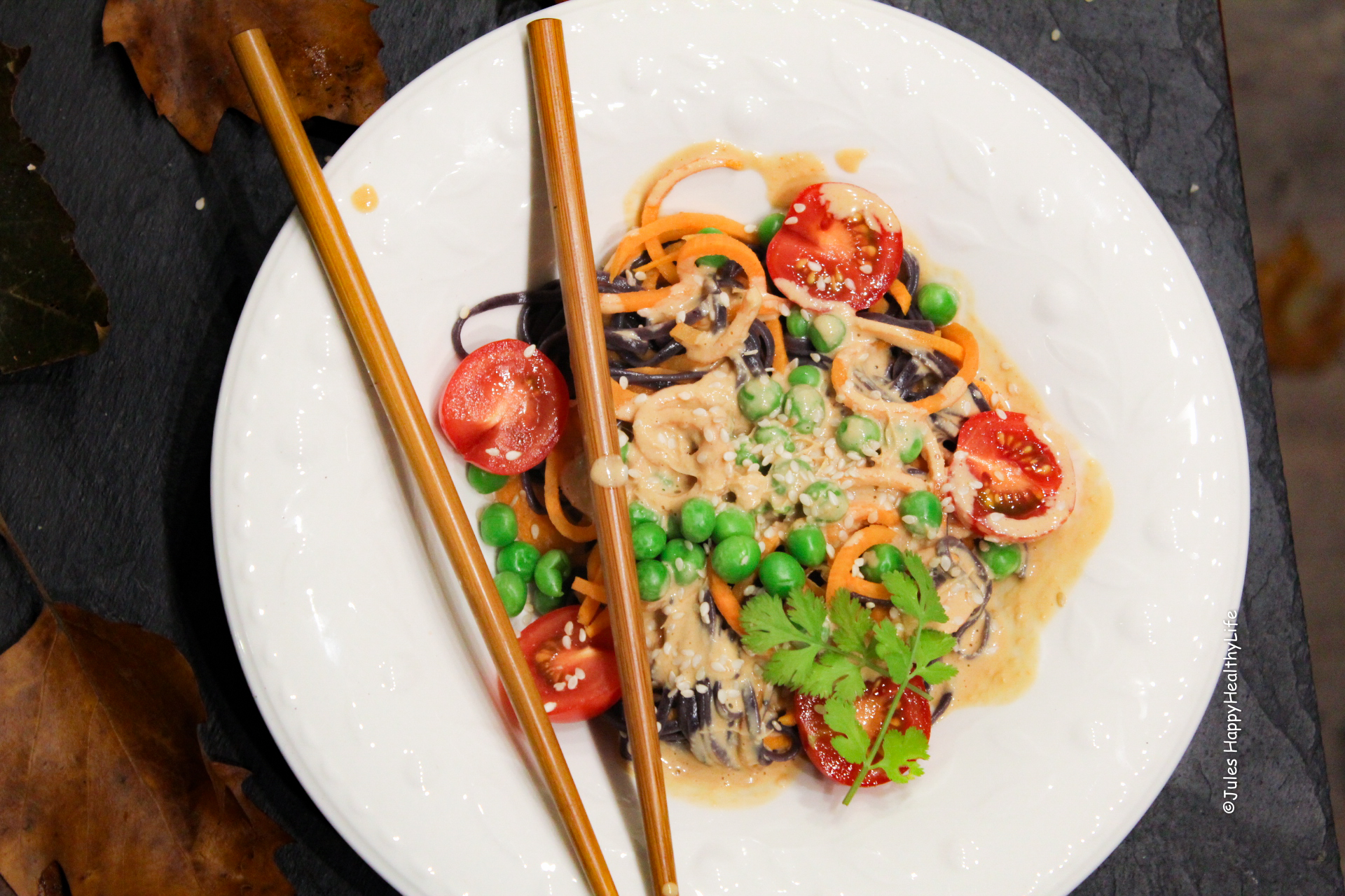Sweet Potato Noodles with Peanut Sauce - Main and vegan Dish