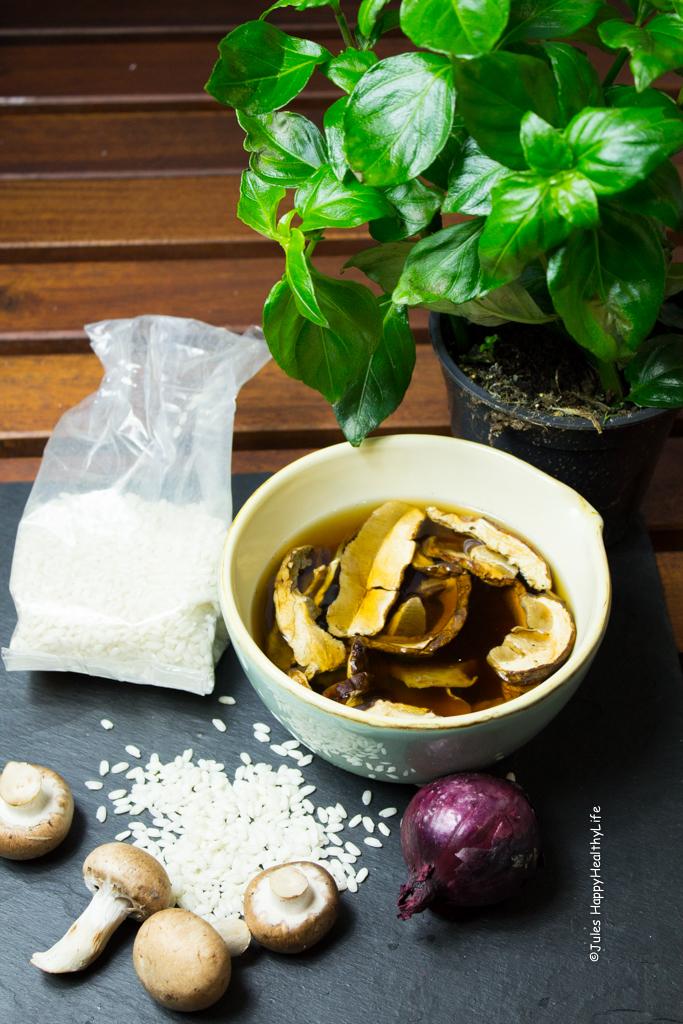 alle Zutaten für veganes, glutenfreies Pilzrisotto - Jules HappyHealthyLife Food Blog