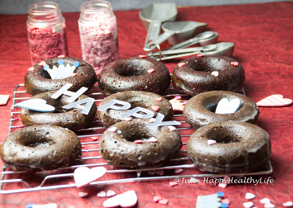 baked, dairy free, gluten free Chocolate Donuts