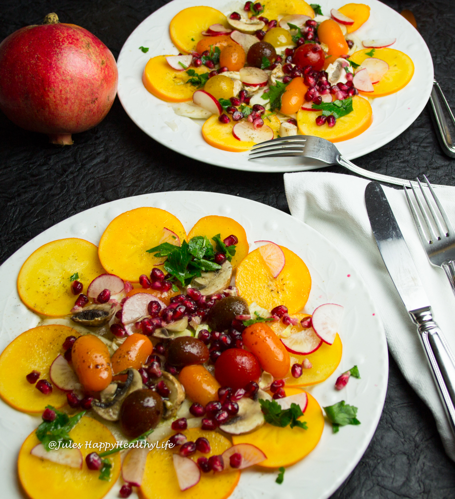Christmas dish Fennerl, Pomegranate, Persimmon Salad