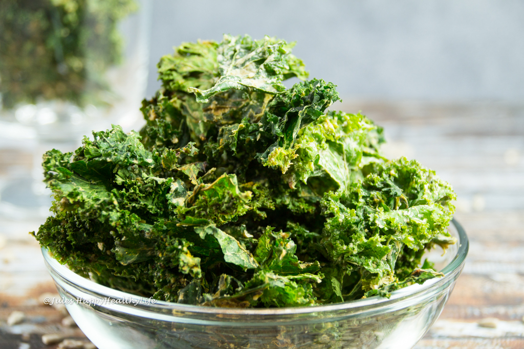 Homemade gluten free, vegan Miso Kale Chips