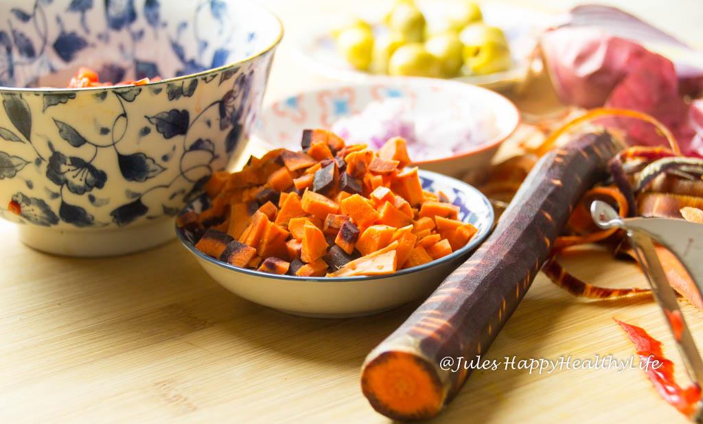 Karotten für Spaghetti Kürbis mit Gemüsebolognese