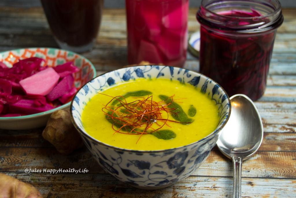Appetizer Jerusalem Artichoke Saffron Artichoke Soup gluten-free, vegan