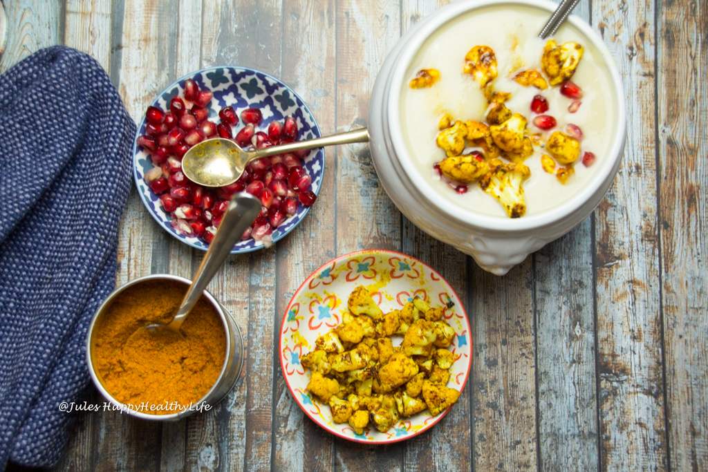 cauliflower white wine soup with pomegranate and spicy cauliflower