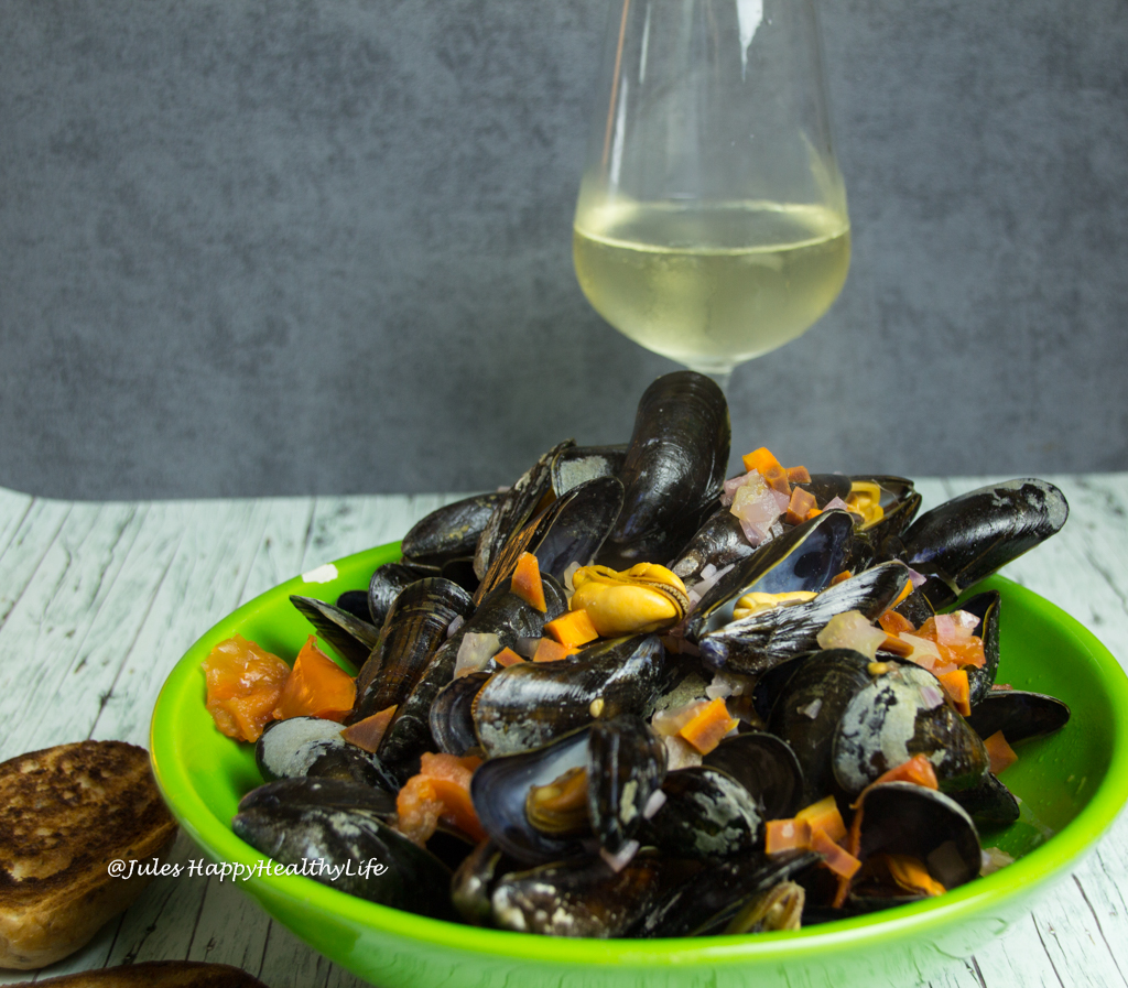 White Wine and Blue Mussels and some bread