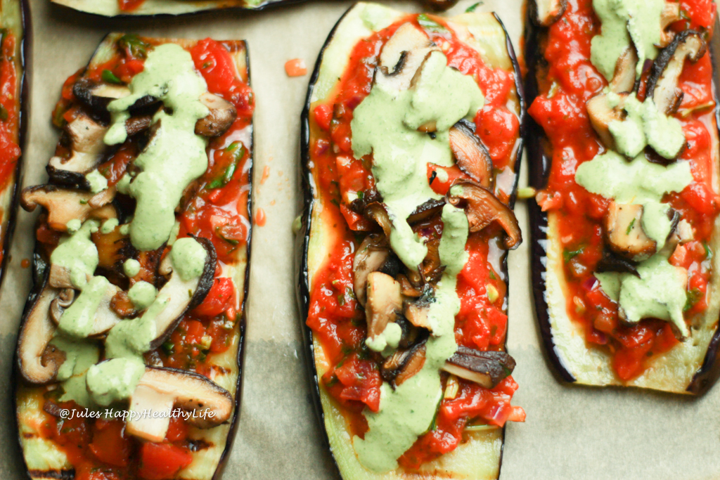 low carb, vegan, gluten-free eggplant pizza