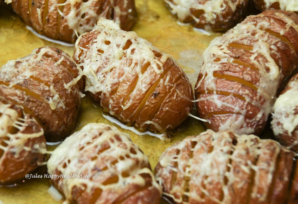 vegetarian, gluten free cheesy Hasselback Potatoes