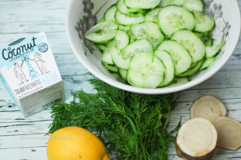 Salat mit frischem Meerrettich - Veganer Meerrettich Gurken Dill Salat