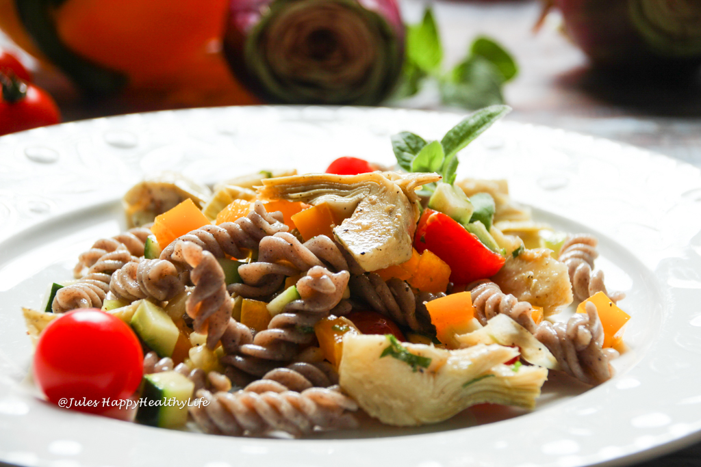 Italian Pasta Salad with Artichokes and pepper