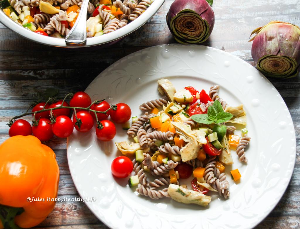 Vegan, gluten free Italian Pasta Salad with Artichoke