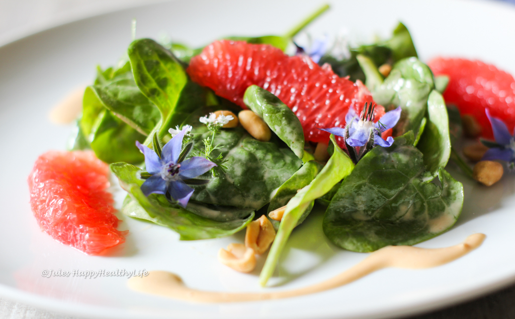 Summery Baby Spinach Salad with Peanut Dressing