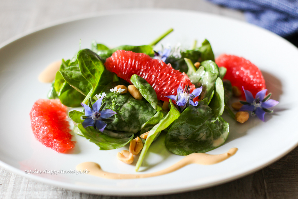 Baby Spinach Salad with Peanut Dressing and pink Grapefruit