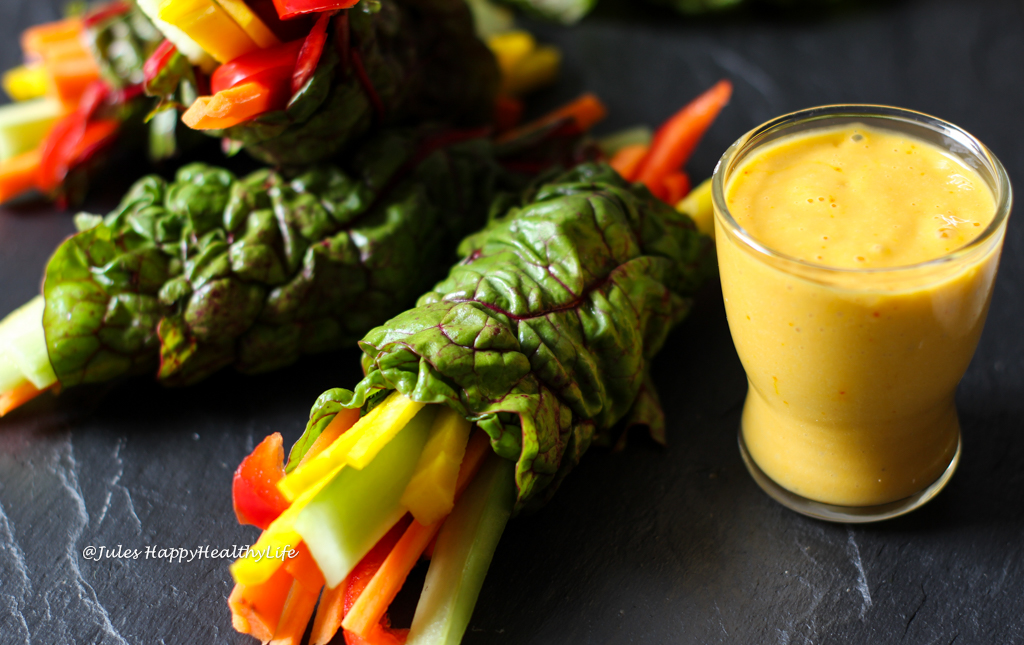 Quick appetizer or snack are these Chard Wraps with Saffron Mango Dip and vegetable Filling