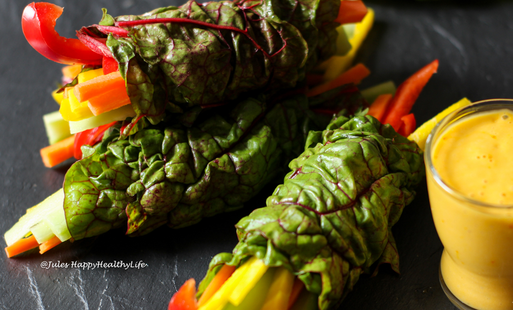 Guest will love this appetizer - Chard Wrap with Saffron Mango Dip