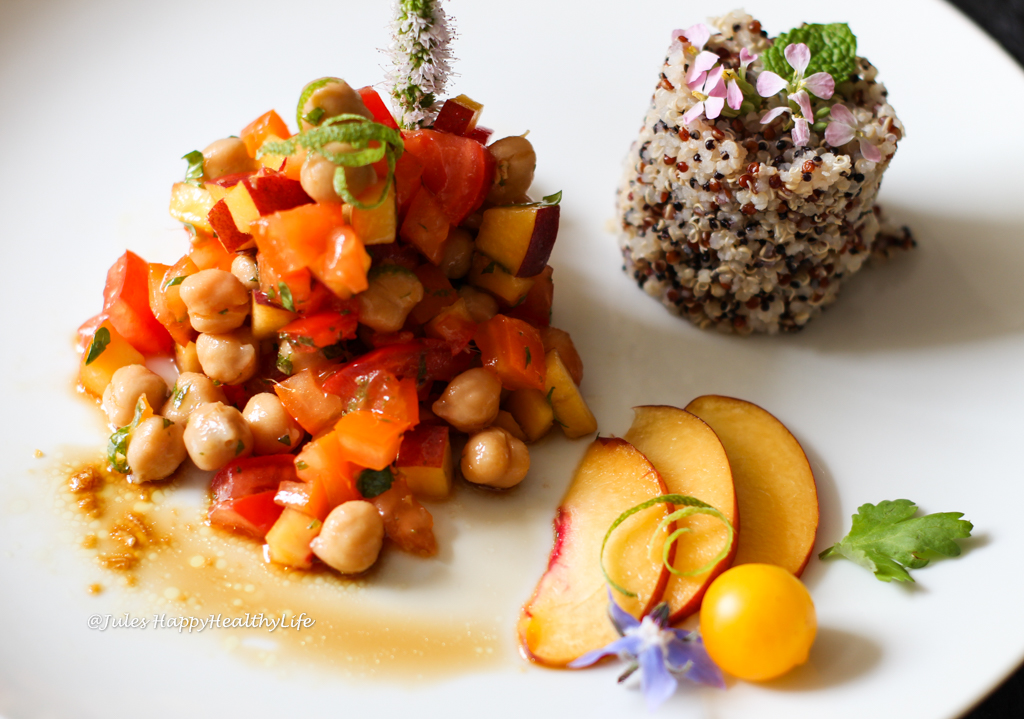 Gluten-free recipe for vegan Chickpea Peach Salad with Ginger Dressing