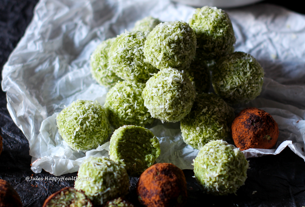 Coconut Matcha Bliss Balls, rolled in Coconut or Cocoa Powder