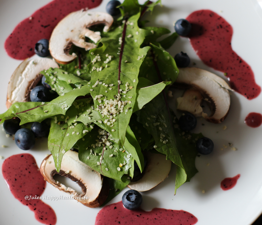 Dandelion Salad with Blueberry-Mustard Dressing for new flavors