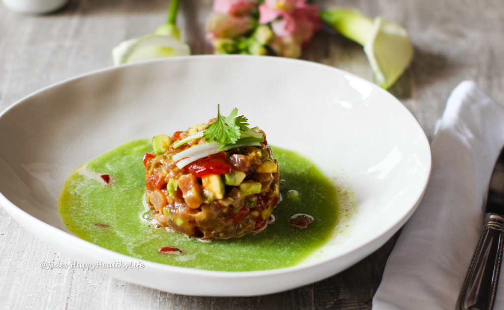 Recipe for refreshing Tuna Tartar with Grilled Watermelon and Cucumber Ginger Broth