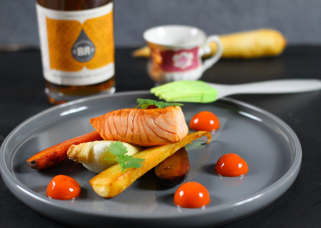 Salmon glazed with Orange Liqueur with Single Malt from Piekfeine Brände