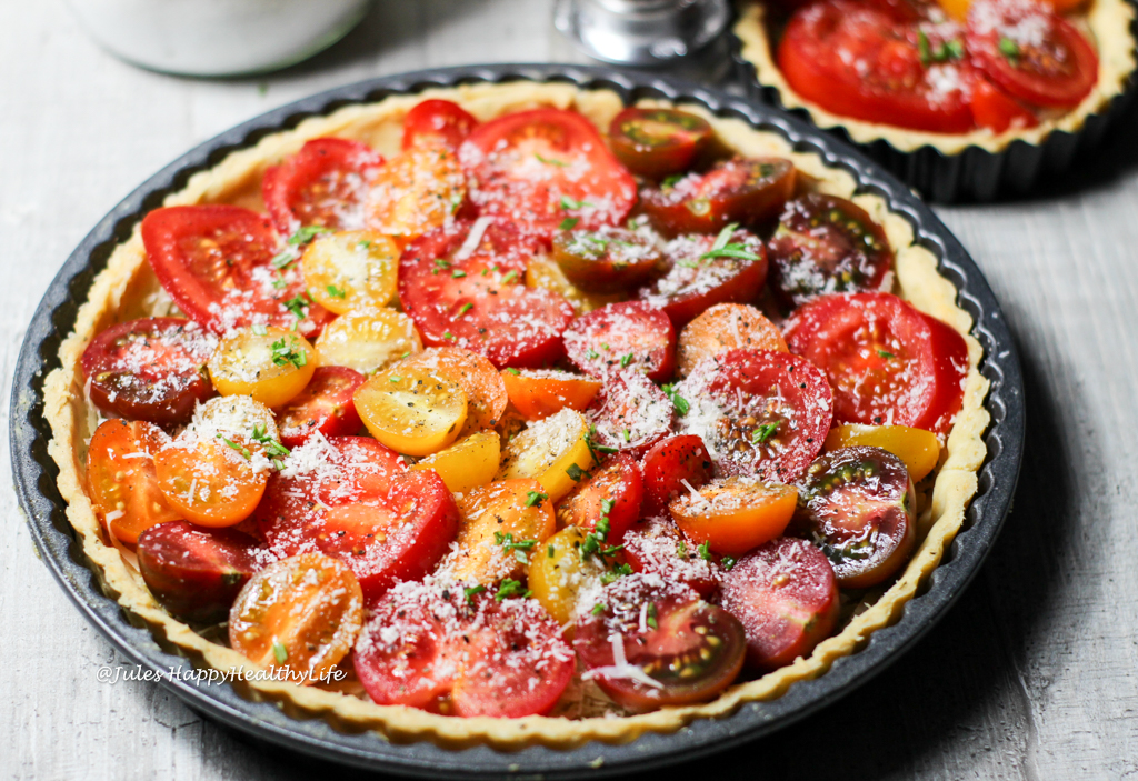 gluten-free Tomato Tarte with a Rosemary and parmesan crust