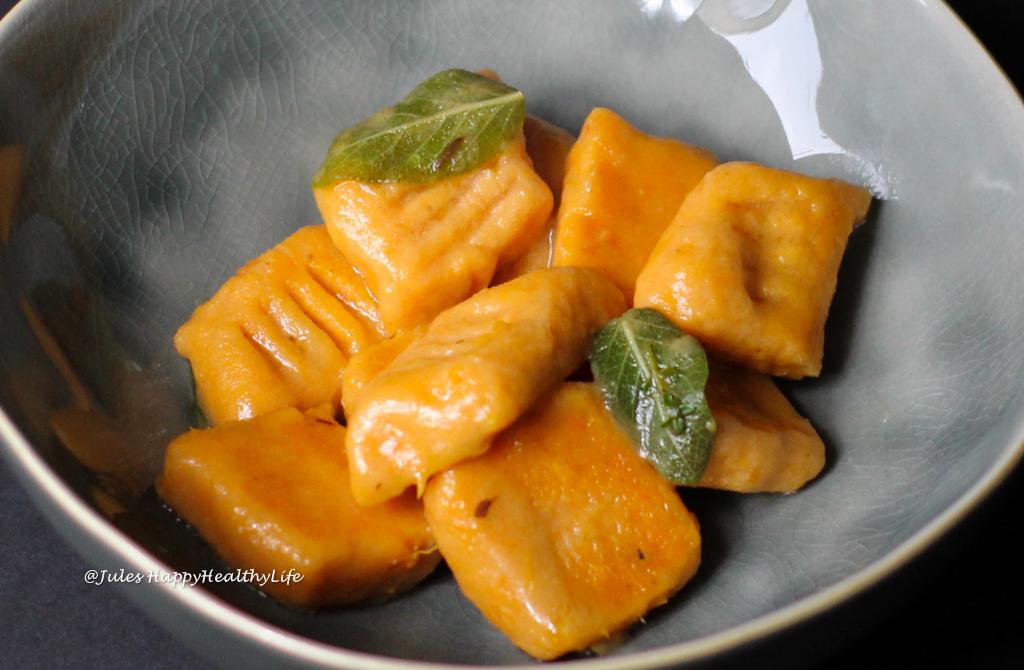 Easy recipe for gluten free Sweet Potato Gnocchi in Sage Butter