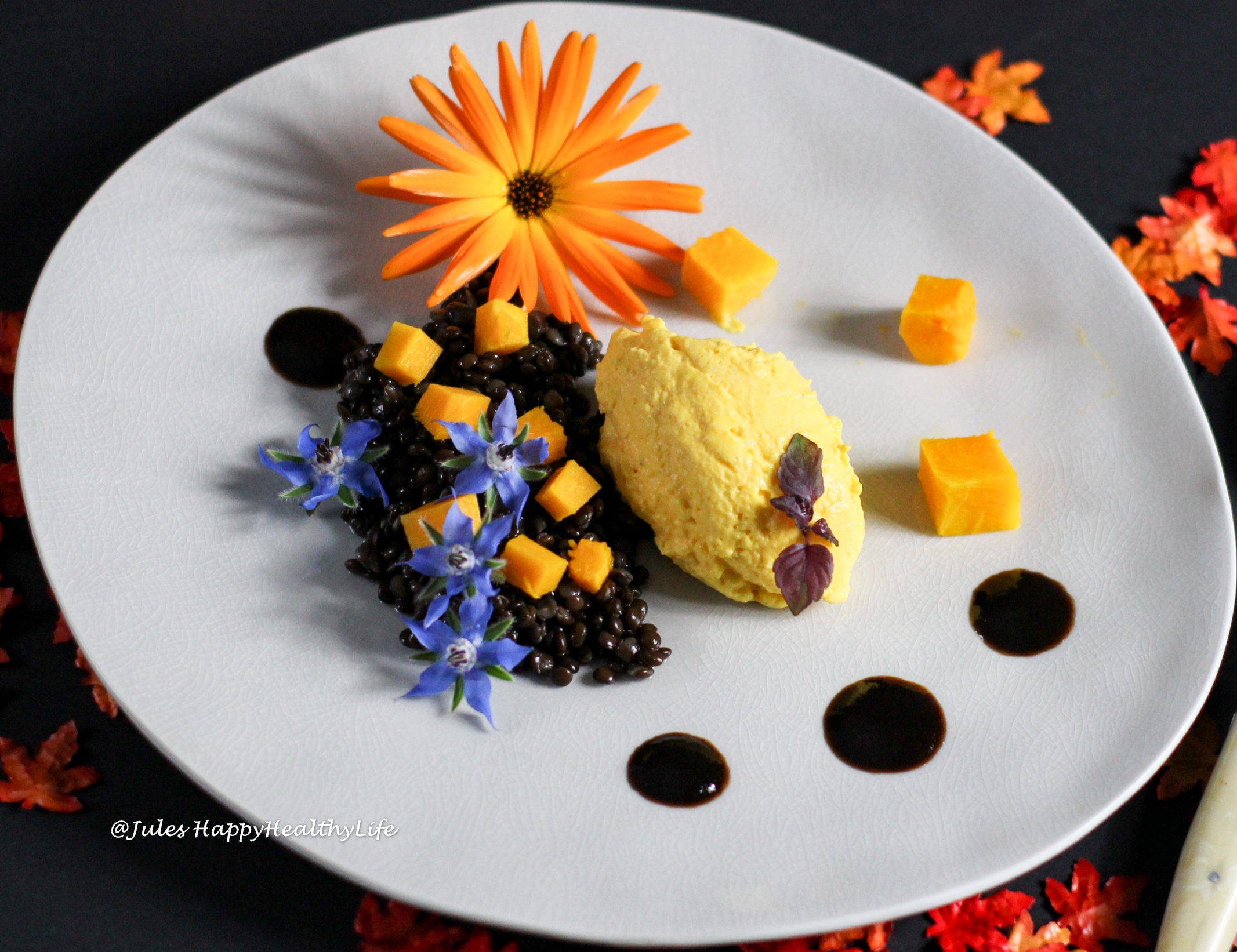 Beluga Lentils with Pumpkin Goat Cream Cheese Mousse and fermented vegetables