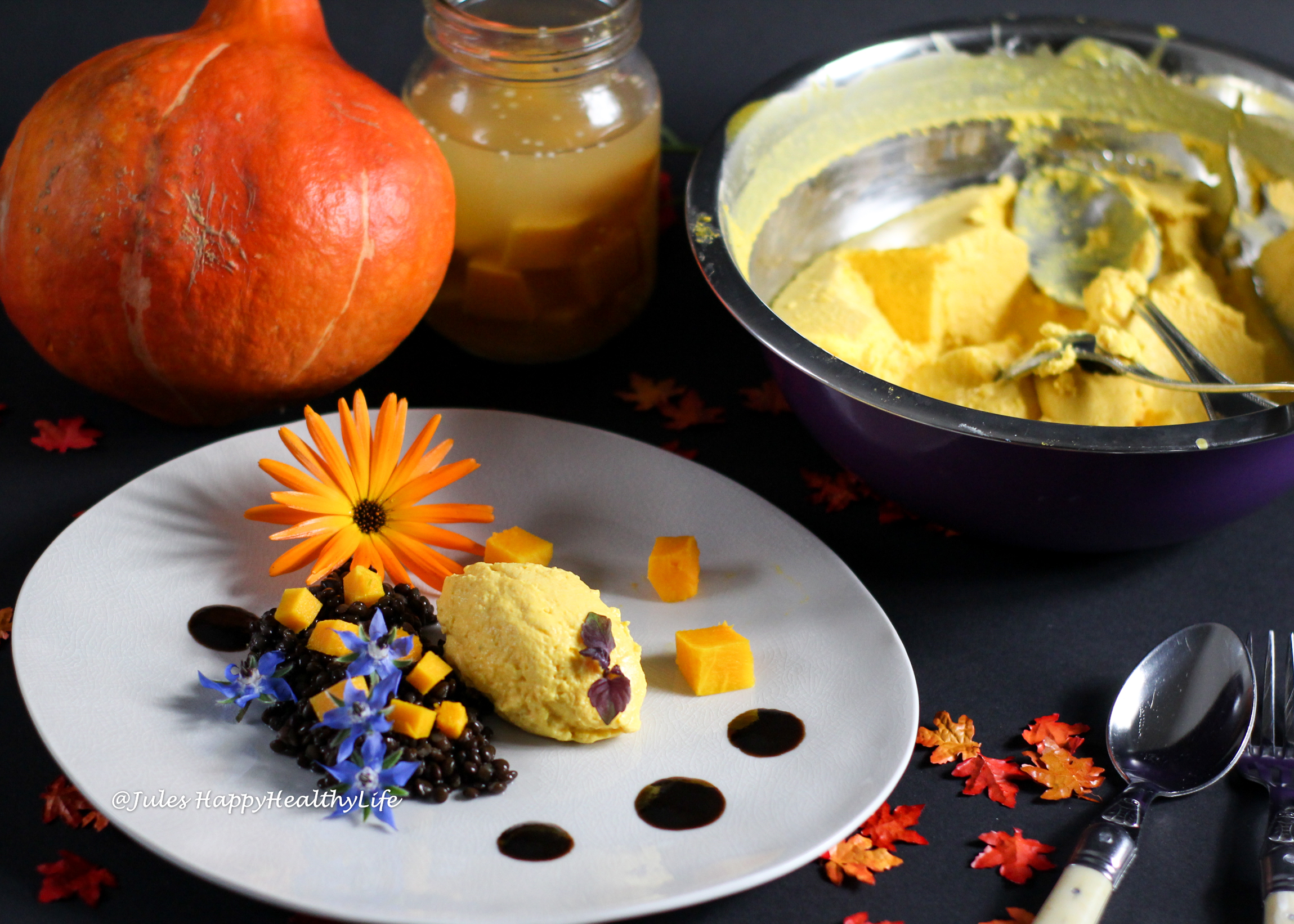 Recipe for Beluga Lentils with Pumpkin Goat Cream Cheese Mousse