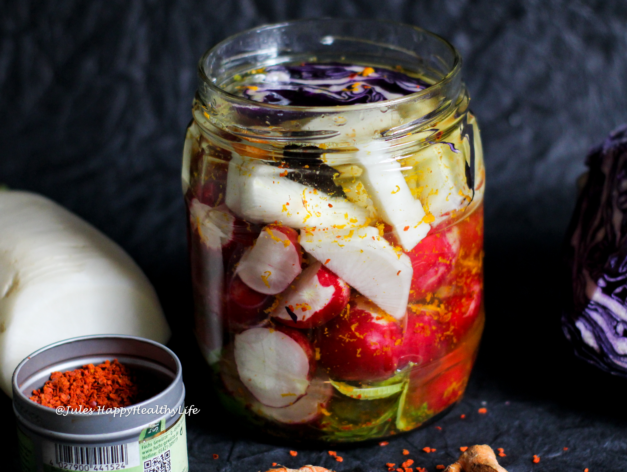 Enjoy your fermented vegetables with turmeric & chili alone or with a salad or other dishes