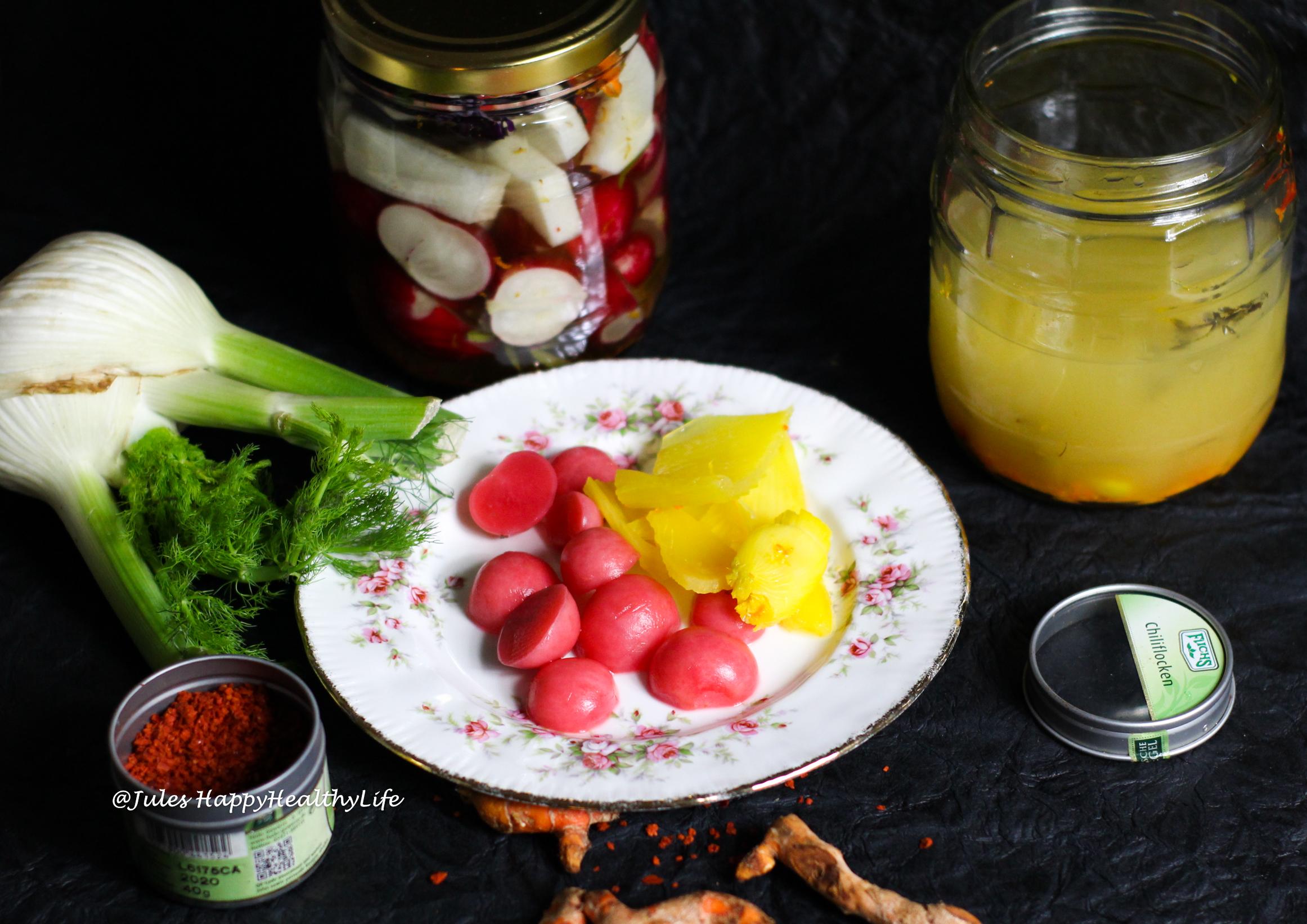 Rezept für gesundes Fermentiertes Gemüse mit Kurkuma & Chili - Gesunde Probiotika