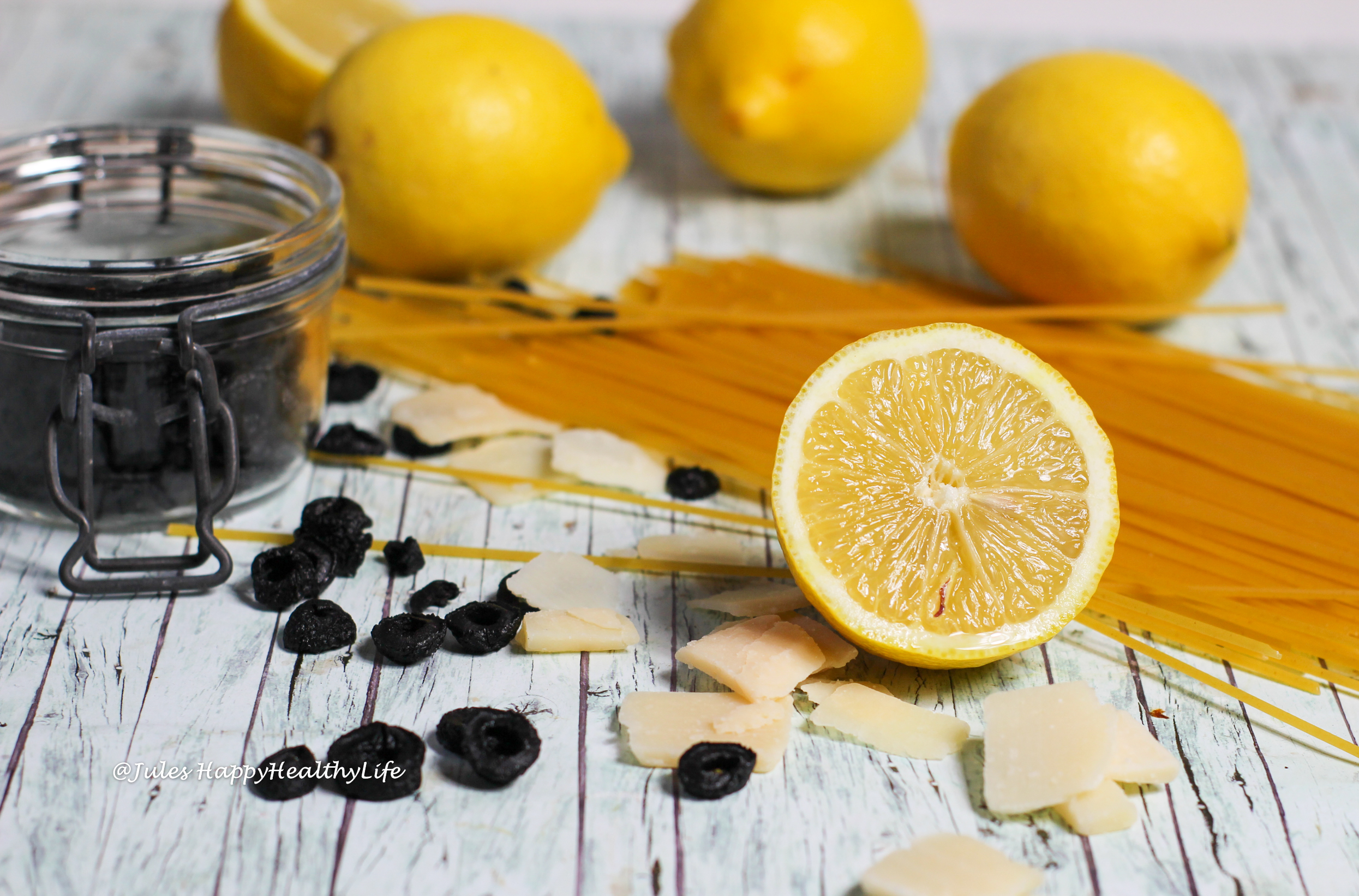 Ingredients for gluten-free Spaghetti with Lemon Sauce